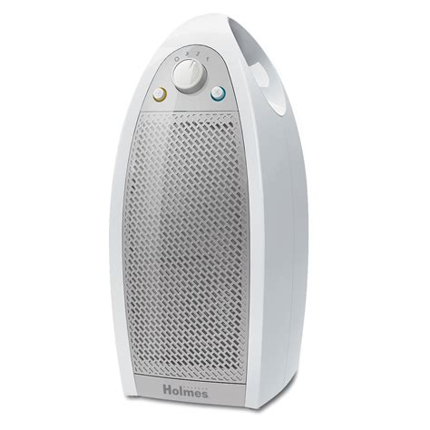 174 mini tower air purifier with hepa type filter in white on holmesproducts