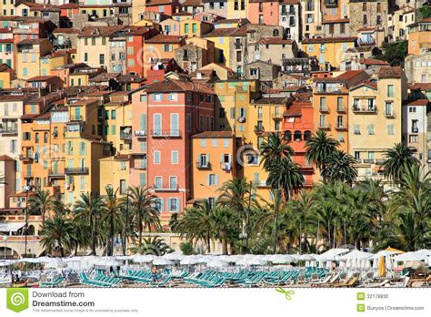 Colorful Houses In Provence Village Of Menton On The