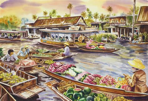 Unicefs Handmade Thai Notecards by Unicef Market Thai Floating Market Original Watercolor