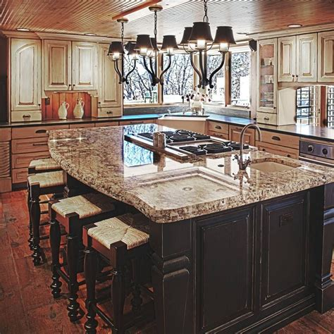 kitchen center island with sink island with stove top and sink black and white