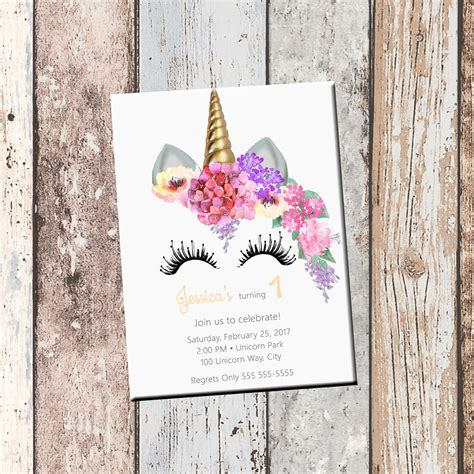 custom photo card templates unicorn birthday personalized invitation 1 sided birthday
