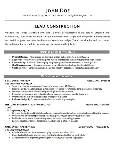 Resume Exles For Construction by Construction Worker Resume Exle Carpenter Supervisor
