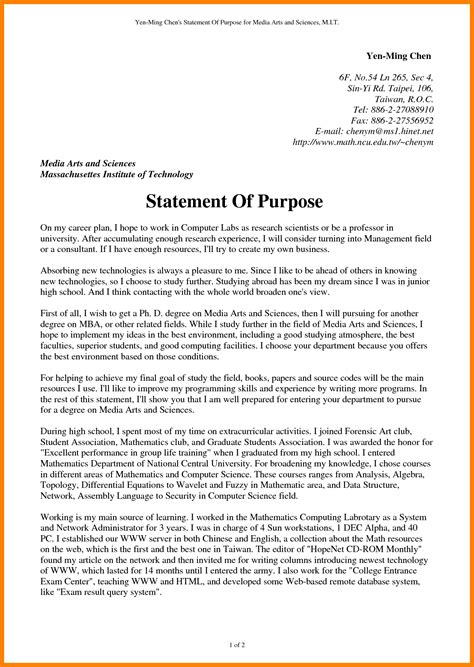 5 format statement of purpose science resume