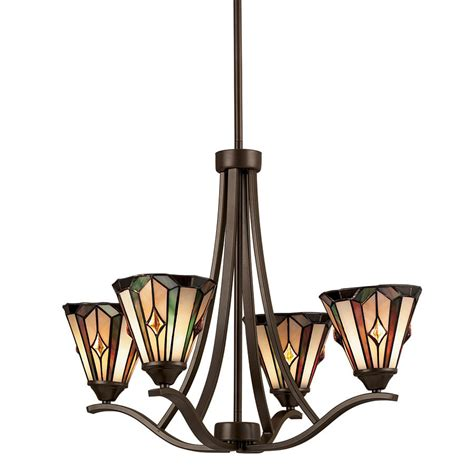 Shop Portfolio 4 Light Mission Bronze Tiffany Style Dining Room Chandeliers Lowes