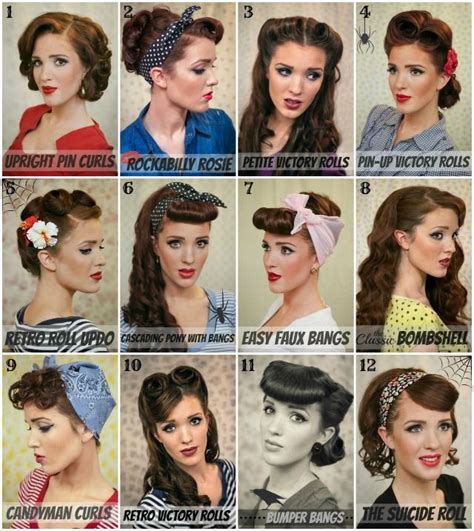 1950s Step By Step Hairstyle | retro hair tutorial round up with lots of different styles