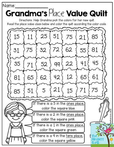 quilt math worksheets printable grandma s place value quilt help grandma pick the colors