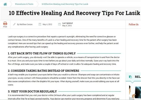 Tips For A Successful Surgical Recovery by Post Surgery Eye Care Tips On Recovering From Lasik In