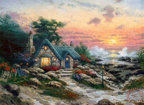 kinkade cottage painting kinkade cottage by the sea painting cottage by