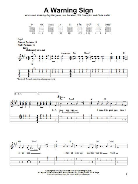 coldplay warning sign lyrics a warning sign by coldplay easy guitar tab guitar