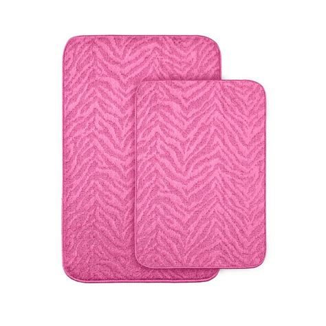 Wash Bathroom Rugs Garland Rug Zebra Pink 20 In X 30 In Washable Bathroom 2 Rug Set Zb 2pc Pnk The Home Depot