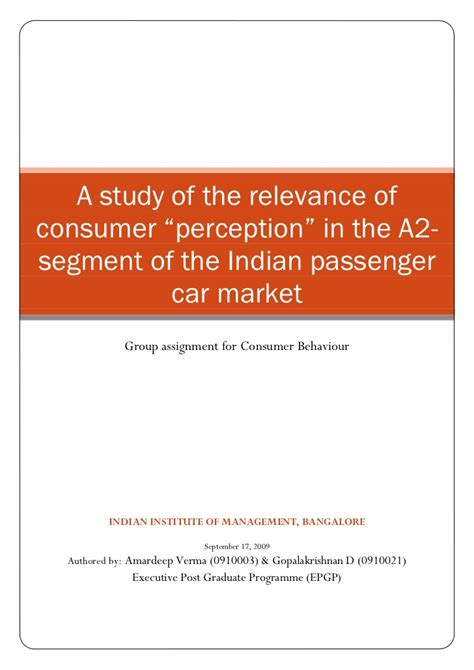 Consumer Behaviour Projects Mba by Consumer Behaviour A Study Of The Relevance Of Consumer