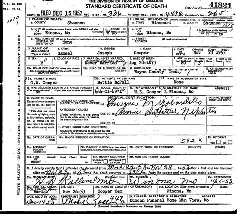 lucille ball s death certificate cause of death was acute 1953 death certificates index