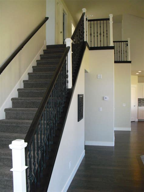 Black Handrail For Stairs Stair With Black Railing And White Newel Post