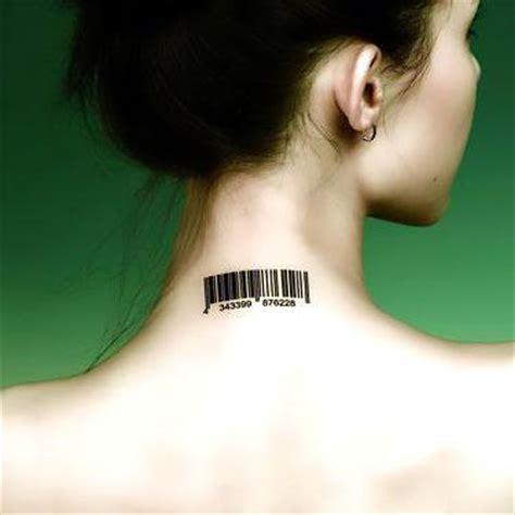 barcode tattoo back of neck bat under breast tattoo idea