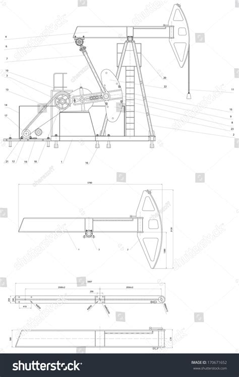 eps format to dwg engineering drawing pumping unit vector format stock