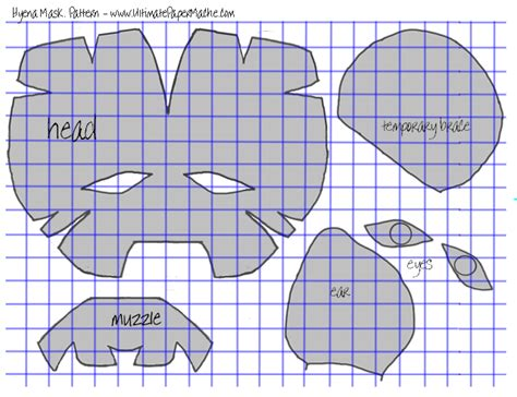 printable hyena mask template hyena mask part 1 ultimate paper mache