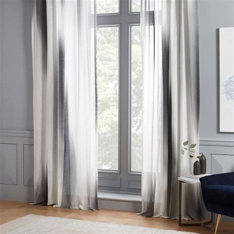 color block curtains diffused colorblock curtains set of 2 slate west elm