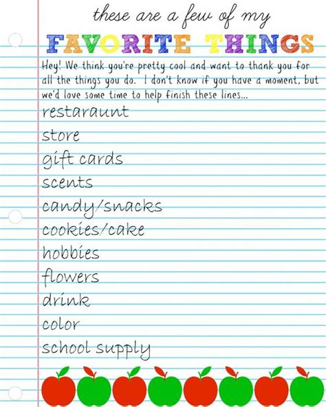 favorite things list template appreciation week questionnaire gift ideas