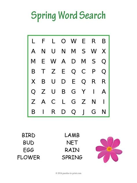 printable word search about spring easy spring word search