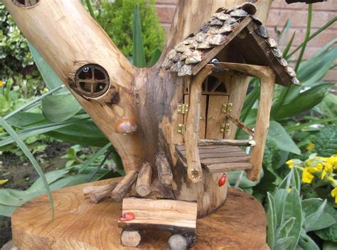 Handmade Garden Ornaments - pixie porch outdoor ready pixie house with solar powered