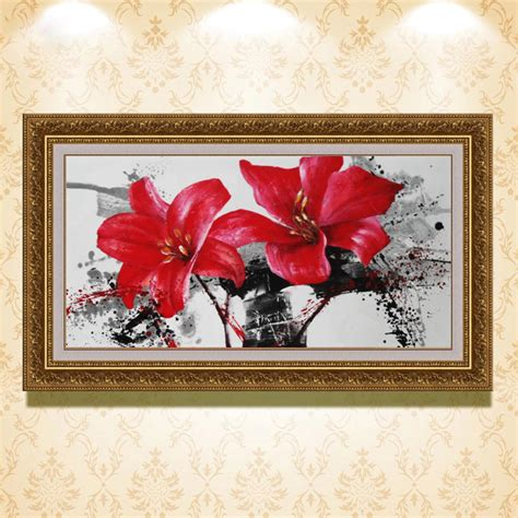 hand painted home decor hand painted red flower modern home decor canvas wall art