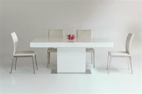White Extendable Dining Table by Durham Modern White Lacquer Extendable Dining Table