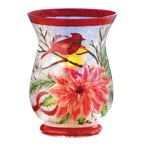 collections etc cardinal crackled glass christmas
