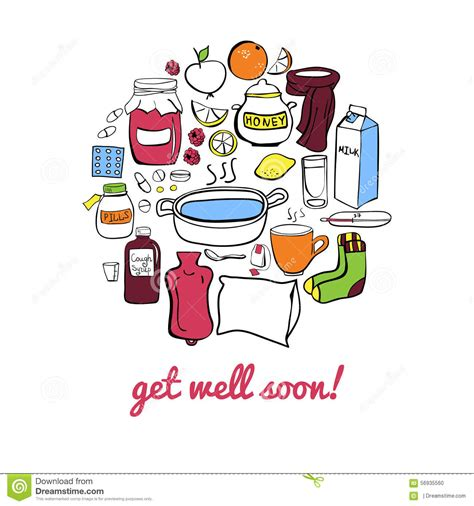 doodle get well soon get well soon card stock illustration image 56935560