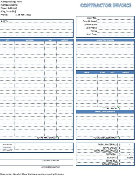 construction invoice template excel free contractor invoice template excel pdf word doc