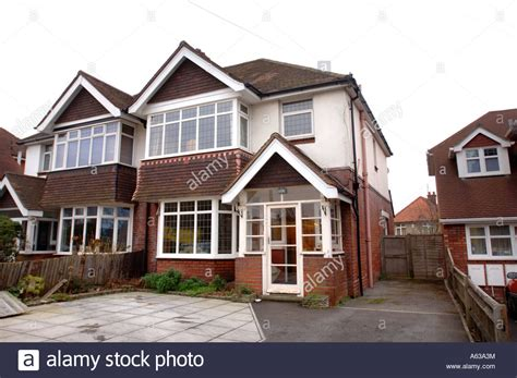 semi detached house a typical semi detached house in a suburban uk