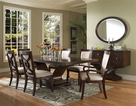 Large Dining Room Sets Oval Mirrors For Dining Room With Large Dining Table Sets And Wood Flooring Design Ideas