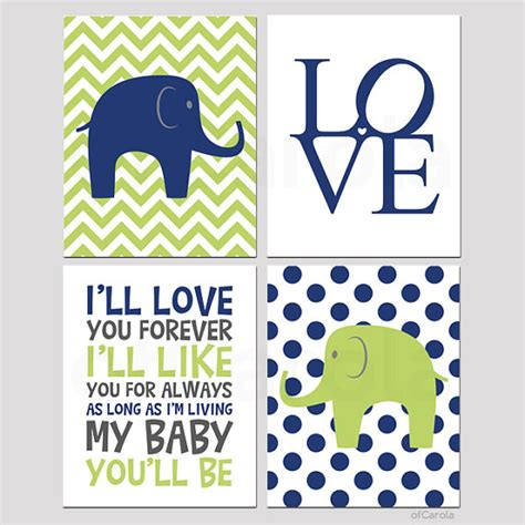 Navy And Green Nursery Decor Items Similar To Navy Blue Lime Green Nursery Wall Print Personalized Print Set Four