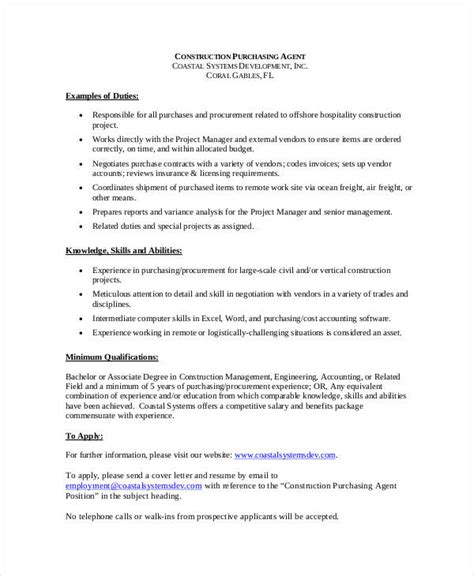 Procurement Description by Doc Procurement Description Write Career Purchasing Resume Sle And