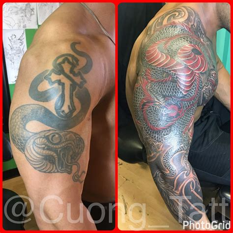 dragon tattoo cover up designs 3 4 sleeve japanese style cover up