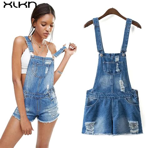 Ripped Denim Overall Shorts womens jumpsuit denim overalls 2017 summer jumpsuits rompers casual ripped pockets