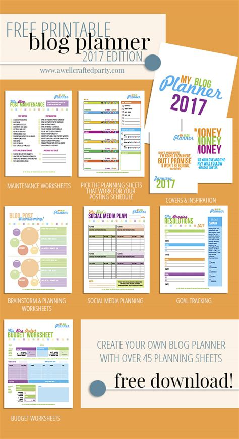 free blog planner printable 2016 free printable blog planner 2017 edition a well crafted