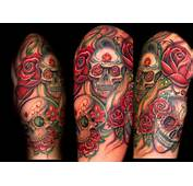 Butterfly Tattoos With Skull And Rose On Half Sleeve For Women