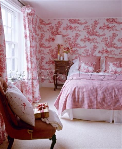 pink wallpaper for bedroom ac075 11 bed in pink bedroom with toile de jou narratives photo agency