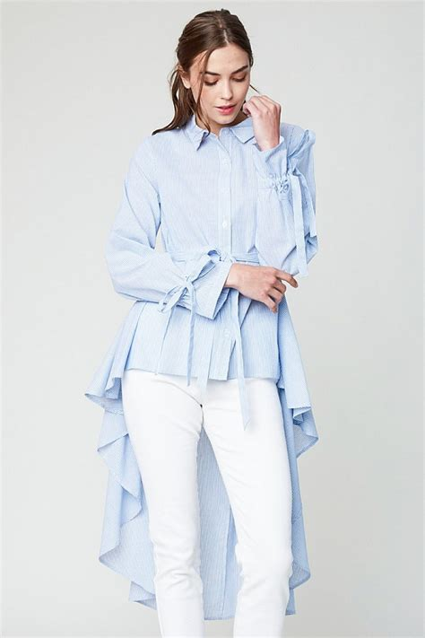 High Low Button Blouse by Sky Blue High Low Hem Button Up Blouse Modishonline