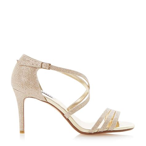 beige heeled sandals dune highlife strappy heeled sandals in beige chagne