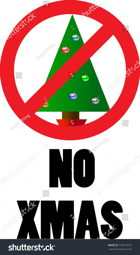 no christmas sign christmas tree no stock vector 730515010
