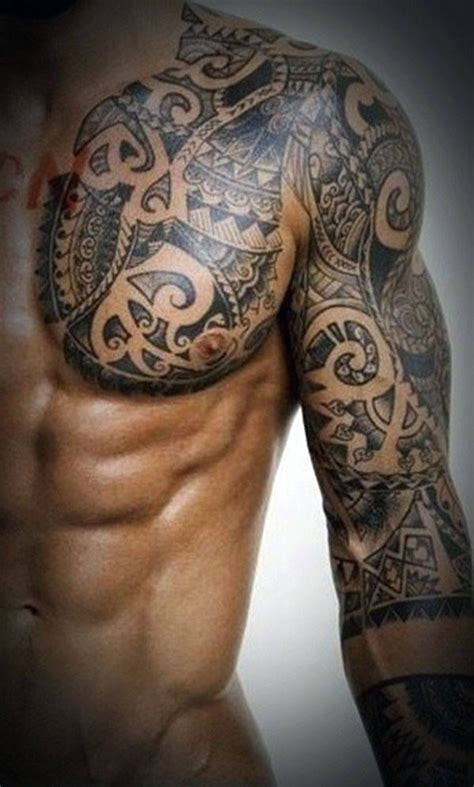 tribal tattoos chest and arm tribal chest tattoos for polynesian tattoos