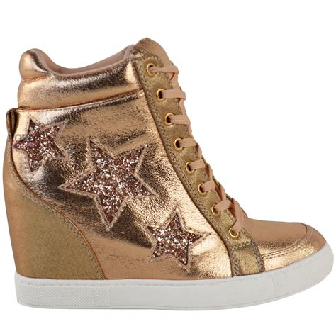 Lace Up High Top Sneakers womens wedge lace up trainers high top