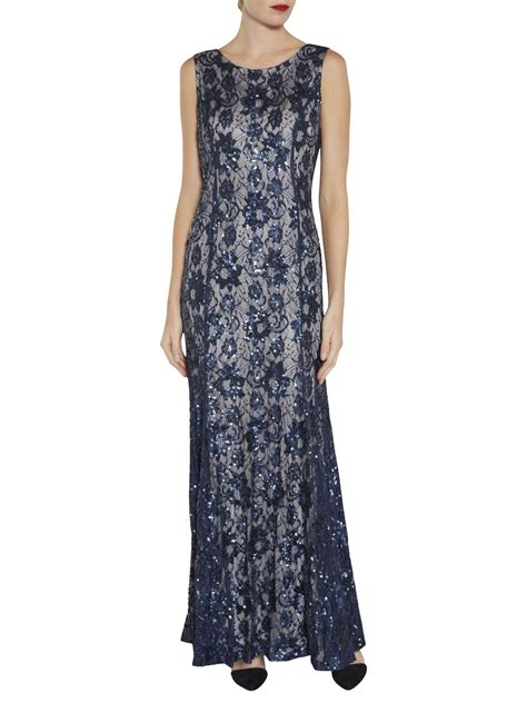 design dress with beads gina bacconi beaded lace maxi dress designer navy silver