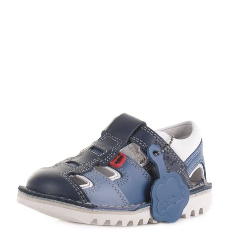 Kickers By Wedges kickers infant boys sundal leather blue sandals shoes
