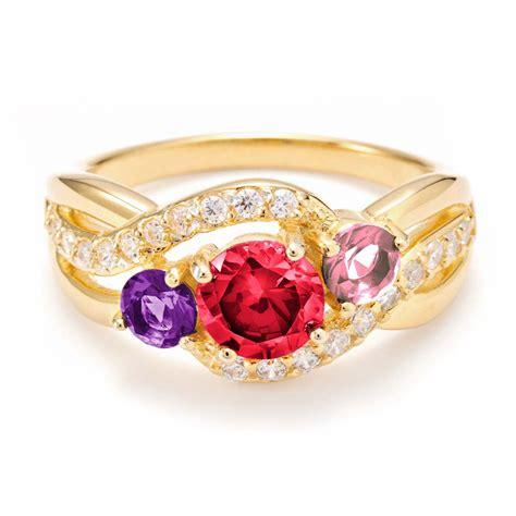 custom 3 gold infinity birthstone s ring
