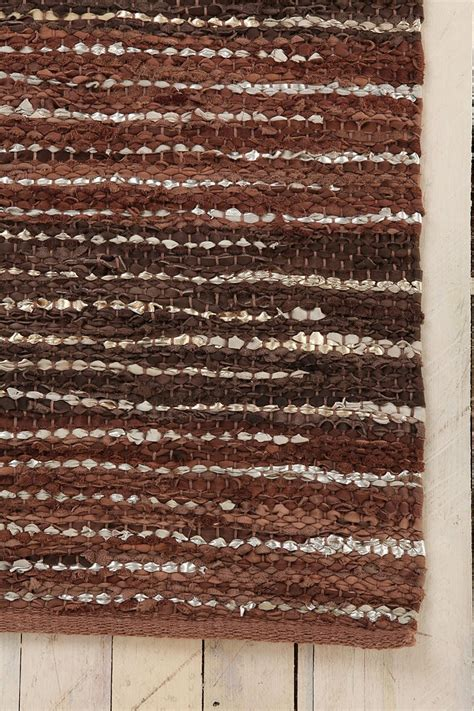 Leather Woven Rug by Woven Leather Weaving