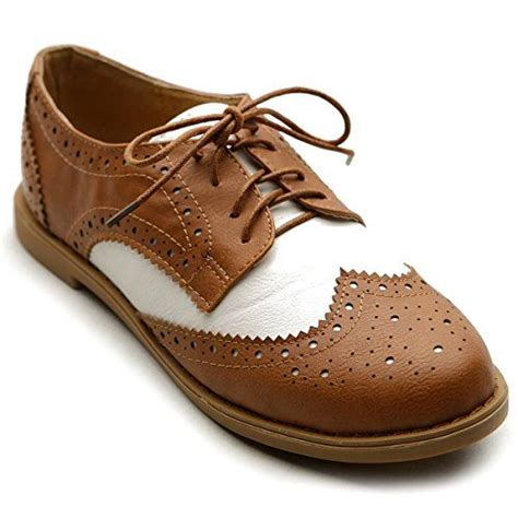 womens flat oxford shoes ollio s flat shoe wingtip lace up two tone oxford