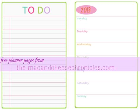 printable blank planner pages free planner pages the mac and cheese chronicles