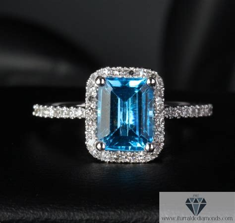 emerald cut topaz pave halo engagement ring